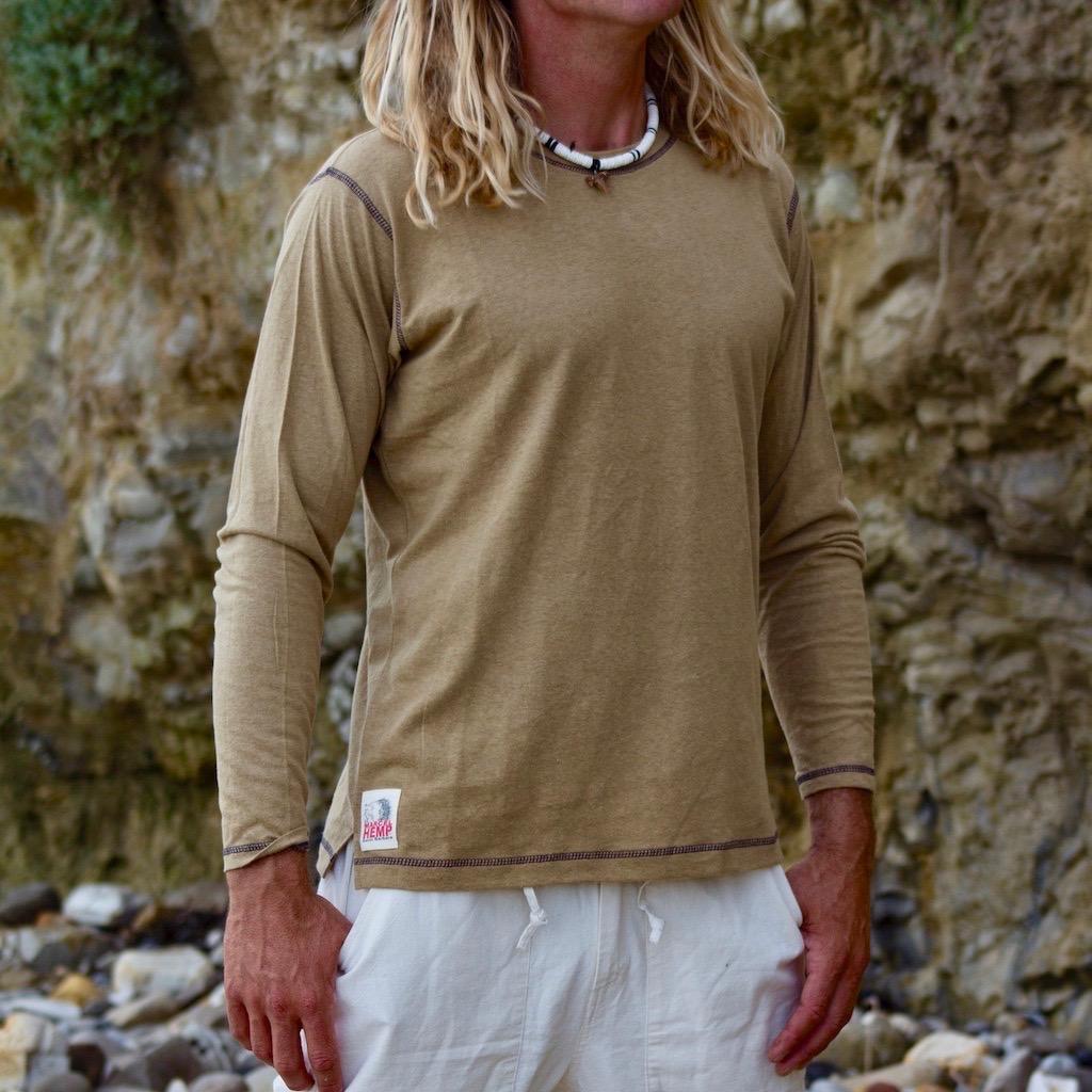 Mens Hemp Long Sleeve Fitted T Shirt Hemp Clothing Marcel Hemp Santa Barbara Ca